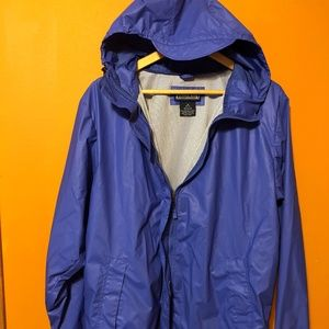Lands End Hooded Rain Coat/Jacket - BLUE - Women